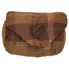 Antique Lancaster, PA Primitive Pin Cushion in Early Brown Fabric