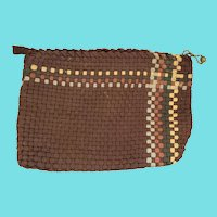 Unusual Antique Lancaster PA. Folk Art Woven Shoestring Sewing Bag