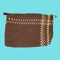 Unusual Antique Lancaster PA. Folk Art Woven Shoestring Sewing Bag