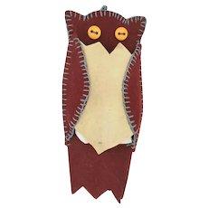 Vintage PA. Folk Art Owl Pin Keep/Cushion Whimsy