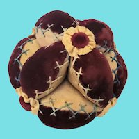 Antique Folk Art Velvet & Satin Puzzle Ball Pin Cushion w/Rosettes