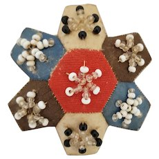 Tiny Antique ca. 1840 English Victorian Silk Beaded Flower Pin Cushion