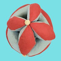 Vintage Primitive Folk art Red & Blue Puzzle Ball Pin Cushion