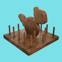 Vintage Naive American Folk Art Squirrel Sewing Caddy Stand