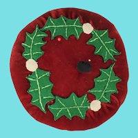 Vintage Folk Art Velvet Pin Cushion with Holly Berry Design