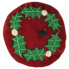 Vintage Folk Art Velvet Pin Cushion with Holly Berry Design