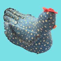 Vintage Folk Art Blue Sitting Hen Pin Cushion Whimsy
