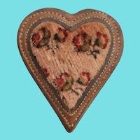 Antique ca. 1850 Folk Art Velvet & Patent Leather Heart Pin Cushion