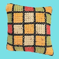 "Vintage PA. Folk Art Needlepoint ""Windowpane"" Pin Cushion"