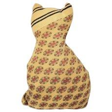 Cute Vintage Folk Art Cat Pin Cushion Whimsy in Great Old Fabrics