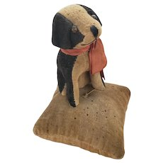 Vintage Tan & Black Velveteen Dog on Pillow Pin Cushion from my Collection