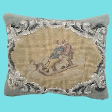 Antique Victorian Needlepoint & Beaded Pin Cushion w/Children on Sled & Dog from my Collection