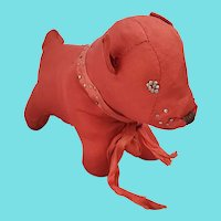 Adorable Vintage Folk Art Red Taffeta Dog Pin Cushion Whimsy from my Collection