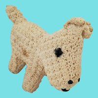 Vintage Folk Art Crocheted White Scotty Dog Pin Cushion Whimsy from my Collection