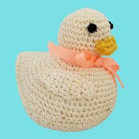 Vintage Folk Art Crocheted Duck Pin Cushion Whimsy