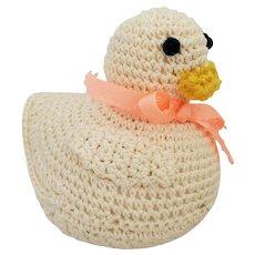 Vintage Folk Art Crocheted Duck Pin Cushion Whimsy