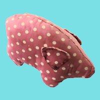 Vintage Naive Folk Art Polka Dot Pig Pin Cushion