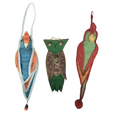 Trio of Vintage Hanging Pin Keeps - 2 Tropical Birds, & Owl from my Collection