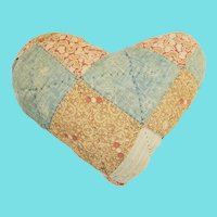 Large Vintage Primitive Folk Art Heart Pin Cushion Made from Old Quilt
