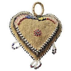 Vintage Native American Folk Art Beaded Heart Pin Cushion from my Collection