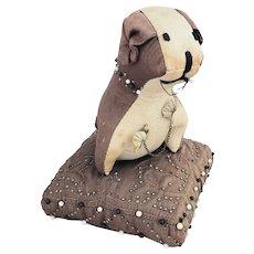 Vintage Handmade Folk Art Dog on Pillow Pin Cushion Whimsy