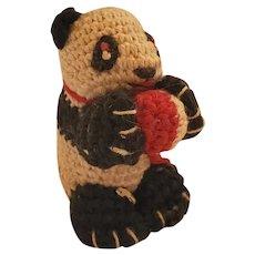 Tiny Vintage Folk Art Crocheted Panda Bear Pin Cushion Whimsy from my Collection