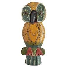 Diminutive Whimsical Vintage 1940's PA. Folk Art Hanging Owl Scissors Holder
