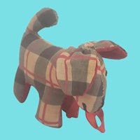 Tiny Near Mint Vintage PA. Folk Art Plaid Dog Pin Cushion Whimsy