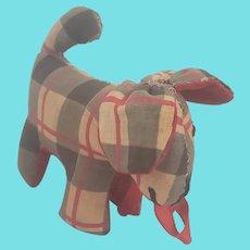 Tiny Near Mint Vintage PA. Folk Art Plaid Dog Pin Cushion Whimsy