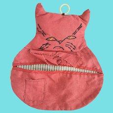 Vintage PA. Folk Art Grumpy Cat Hanging Sewing Pouch