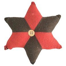 Vintage PA. Primitive Folk Art Red & Brown Wool Star Pin Cushion