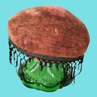 Antique 19th C. PA. Primitive Make-Do Pin Cushion w/Emerald Green Glass Base
