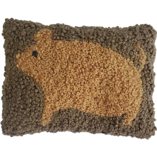 Antique Early 1900's Folk Art Hooked French Knot Pig Pin Cushion