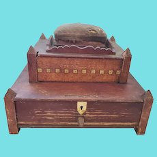 19th C. Folk Art 2-Tier Sewing Box Stand w/ Handmade Bone Sewing Implements