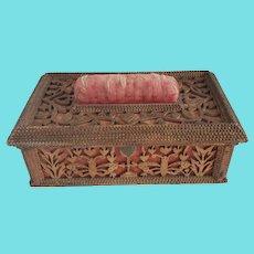 Late 19th Early 20th C. Folk Tramp Art Fretwork Sewing Box w/Butterflies & Hearts