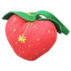 Large Vintage Folk Art Wool Felt Strawberry Pin Cushion w/Embroidered Details
