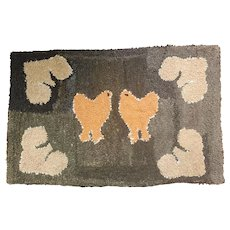 Near Mint Vintage Folk Art Chicken & Stylized Hearts Hooked Rug from my Collection