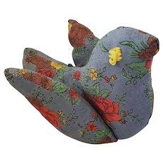 Vintage Naive Folk Art Floral Print Bird Pin Cushion Whimsy