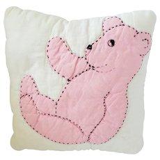 Cute Vintage Pink Teddy Bear Pillow Pin Cushion Whimsy
