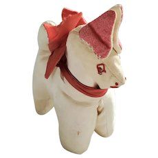 Diminutive Vintage Folk Art Satin Dog Pin Cushion Whimsy from my Collection