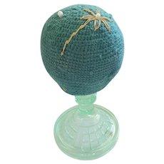 Vintage Folk Art Make-Do Pin Cushion from my Collection #5 (Vaseline Glass Base)