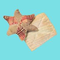 Antique PA. Primitive Folk Art Star Pin Cushion w/ Pillow Pin Keep