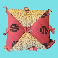 Antique PA. Primitive Folk Art Pin Cushion in Early Fabrics