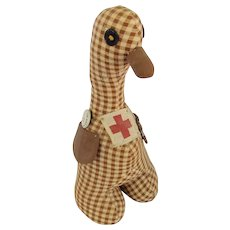 Vintage Folk Art Brown Gingham Goose Pin Cushion