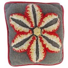 Vintage Near Mint Folk Art Hooked Flower Design Small Pillow or Pin Cushion