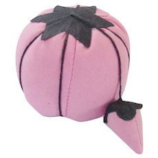 Vintage Mint Condition Pink & Black Tomato Pin Cushion