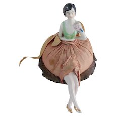 Vintage 1920's Flapper Style Porcelain Doll Pin Cushion