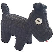 Vintage Folk Art Crocheted Black Scottie Dog Pin Cushion Whimsy