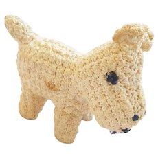 Vintage Folk Art Crocheted White Scottie Dog Pin Cushion Whimsy
