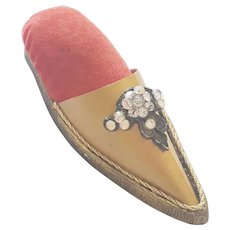 Vintage Brass Slipper Pin Cushion With Rhinestone Decoration